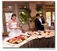 Bride and Groom finally get to eat.